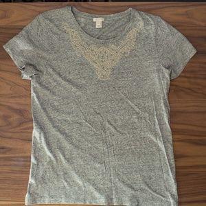 J. Crew Embellished Gray T-Shirt